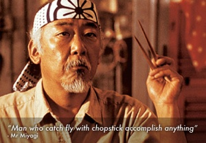 Karate Kid, swatting, discipline, movies, miyagi, Happy Days, Pat Morita, Ralph Macchio, Jaden Smith, parenting